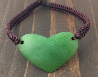 Canadian Nephrite Jade Heart Bracelet