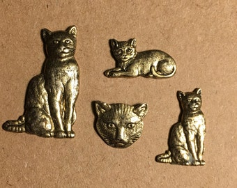 Set of 4 brass Cat Scatter Pins