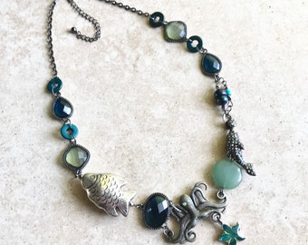 Aquatic creature charm necklace // ocean themed necklace // octopus and fish necklace