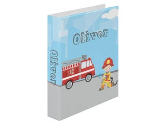 Personalized Binder - Firefighter Boy Girl Fire Truck Sky Road, Customized Pocket Binder 3 Ring Binder 2 Inch Spine Back to School