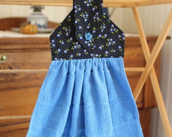 Country Calico Black and Blue Hanging Dish Towel