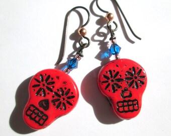 Red Sugar Skull Earrings, Halloween Earrings, Skull Day of the Dead Southwestern Dangle Earrings, Glass Crystal Goth Boho, HO0025