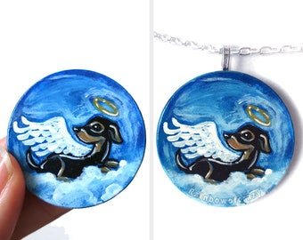 Dachshund Necklace, Angel Pendant, Pet Memorial, Hand Painted Wood Jewelry, Dog Owner Gift for Her, Pet Loss, Blue Sky, Animal Painting
