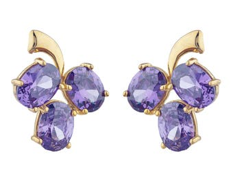14Kt Yellow Gold Plated Amethyst Oval Shape Design Stud Earrings