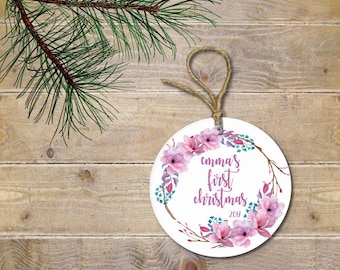 Baby's First Christmas Ornament, Wreath, Flowers, Modern Watercolor, Christmas Ornament, Baby Shower Gift, New Baby, Christmas Gift, Girl