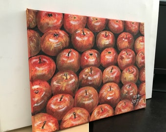 Red apples original acrylic painting