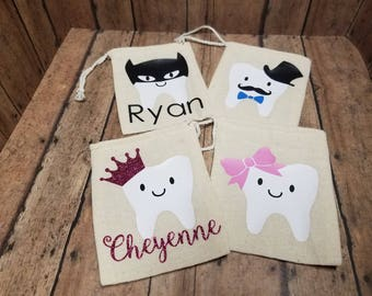 Tooth Fairy Bags - tooth storage bag - personalized