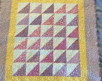 Lavander Homemade Baby Quilt, girl