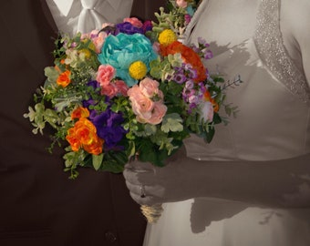 Mixed Color Wedding - Bridal Bouquet • Bright Silk Flowers