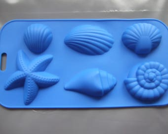 Silicone Mould 6 Seashell Ocean Shapes Wax,Chocolate,Soap,Ice, Sweets, Marzipan