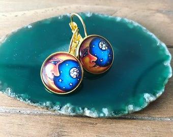 Moon earrings , exotic earrings , unique earrings