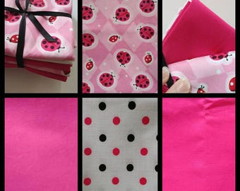 Pink Ladybug Fabric Quarter Bundle 6 piece Cotton Fabric Pack