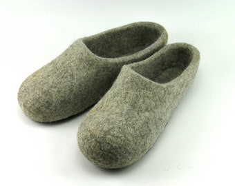 Grey Slippers, Wool Felted Slippers