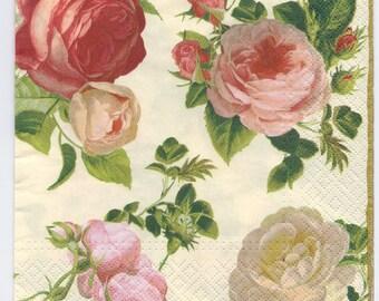 4 Decoupage Napkins | Coterie of Beautiful Roses | Rose Napkins|Floral Napkins|Romantic Napkins|Designer Napkins|Paper Napkins for Decoupage