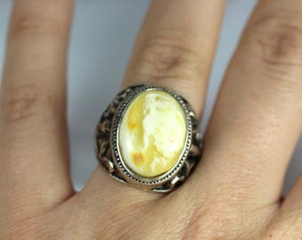Genuine Baltic Amber MEN Ring, White color, Amber Jewelry, Silver plated & Natural Amber Ring, Amber gift 8.54 grams