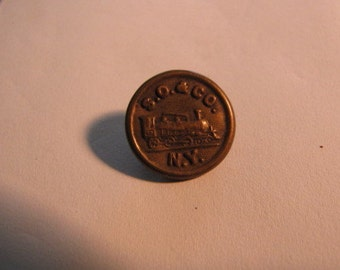 Vintage Collectible S. O. & Co. Railroad Rail N.Y. Road Button
