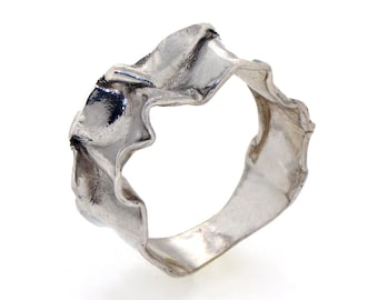 CRUMPLED sterling silver ring, unique silver ring, Sterling Silver Wedding Band, mens silver band, custom silver ring