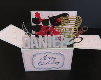 Handmade 3D greeting  Birthday card,  Pirates. PERSONALISED