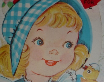 Blonde Girl in Gingham Bonnet With Eggs and Baby Chicks Vintage 1950s Valentine
