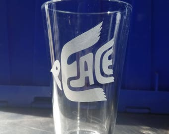 Peace Etched Pint Glass