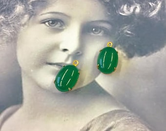 Vintage Glass Jade 14x10 Cabochons in raw brass settings 2208VIN x2