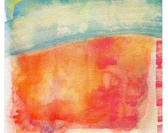Neon Landscape, 8x10 Print, Watercolor Reproduction, tangerine, orange, strawberry