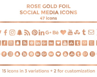 Rose Gold Social Media Icons Buttons Website Icons Rose Gold Foil Blog Icons Rose Gold Social Media Icons Social Media Graphics Twitter