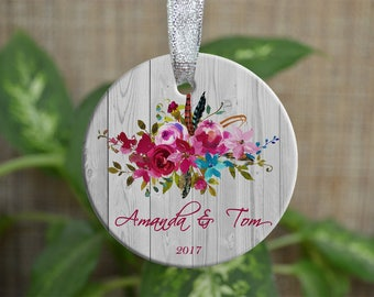 Personalized Christmas Ornament, First Christmas ornament, Floral Custom Ornament, Housewarming gift, Wedding gift, Christmas gift. o075