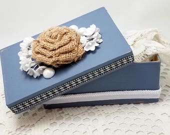 Blue Gift Box - Blue Rustic Chic Box - Altered Blue Box - Rustic Style Box - Burlap Accent - Blue Shabby Chic Box - Black and White Ribbon