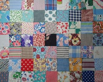 "Vintage Feedsack Fabrics,1930s,1940s Fabric,Charm Pack,2.5"" Squares,Precut Squares,Set of 63 - FREE SHIPPING"