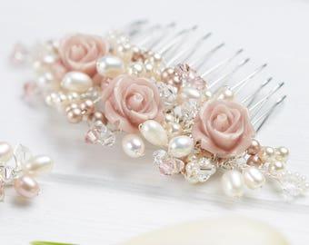 Flora Wedding Comb, Swarovski crystal , freshwater pearl, blush pink wedding hair accessories, bridal comb, bridesmaids comb
