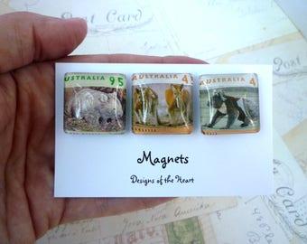 Square Glass Magnet set - Australian Stamp Collection - Australian Animals, Wombat, Kangaroo, Koala