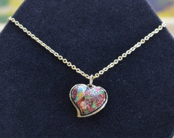 """On sale Pretty Vintage Red, Multi-colored Cloisonne Floral Heart Pendant Necklace, 16"""" (O5)"""
