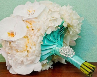 BROOCH BOUQUET AQUA