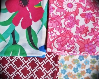 Vintage Funky, Vintage Fabric,Shabby Chic Retro Pillowcase Bundle, 4 Vintage Pillowcases,  60s / 70s Original Fabric Summer Bundle set 2
