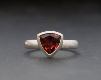 Red Garnet Ring - Red Gemstone Ring - Trillion Garnet Ring set in Sterling Silver -  Made to order - Free Shipping
