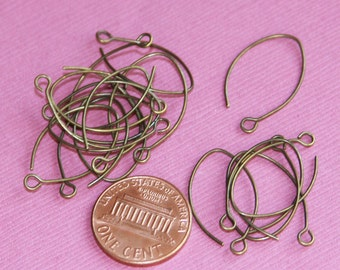 20 pcs of antique brass leaf earwire 22X12.8mm - 22 gauge Hand made in USA
