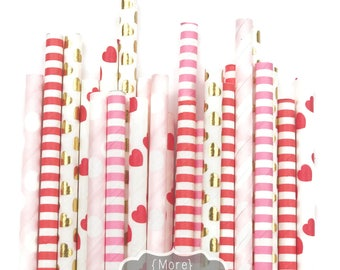 PEPPERMINT HEARTS straw pack, stripes and heart, 25 Straws, candy theme, red Gold heart, gold foil,  vday decor, valentine party, Valentines
