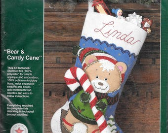 Bucilla Vintage Bear & Candy Cane Felt Christmas Stocking Kit 32707 Jeweled Sequin SEALED