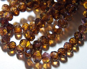 Czech Amber with Gold Picasso 5x7mm Faceted Fire Polished Glass Rondelle Beads (25) 1139