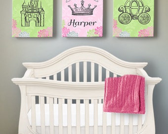 Personalized Princess Baby Nursery Canvas Wall Art, Princess Room Decor, Set of three Personalized Art, Catle, Crown, Carriage