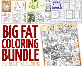 Over 75 Printable Coloring Pages for adults - HUGE DISCOUNTED Coloring Bundle-  PDF instant digital download