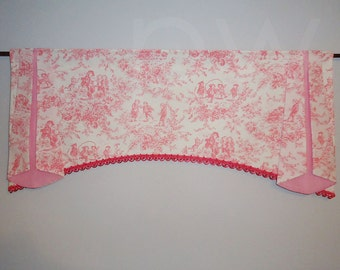 Pink Toile Check Baby Window Valance