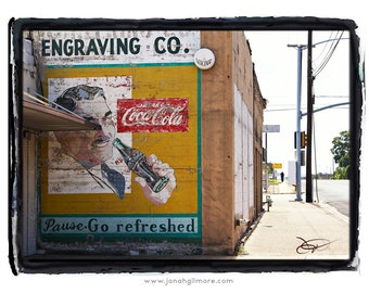 Pause Go Refreshed Coca Cola Painted Sign on Brick Building in Waco Texas Fine Art Print