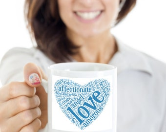 Love heart blue gift mug - valentine, anniversary, birthday, christmas gift - for the man in your life.