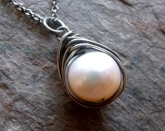 Pearl Sterling Silver Wire Wrapped Pendant Necklace - Pearl Pendant on Sterling Silver Chain