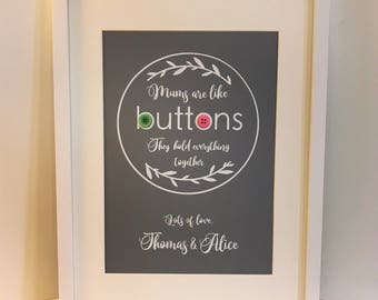 Mums are like buttons Print / Picture (unframed) - white vinyl on high quality grey cardstock with 2 x buttons