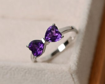 Natural purple amethyst ring, engagement ring, promise ring for her