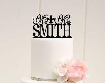 Fleur de Lis Wedding Cake Topper, Custom Wedding Cake Topper, Mr and Mrs Cake Topper, New Orleans Wedding Cake Topper, Personalized Topper