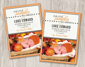 Our Little Pumpkin Birth Announcement | Printable